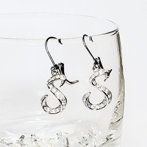 "Nolan Miller ""S"" Initial Earrings Crystal Pave"